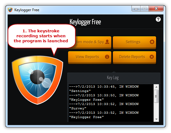 Launch Keylogger Free and Start Monitoring